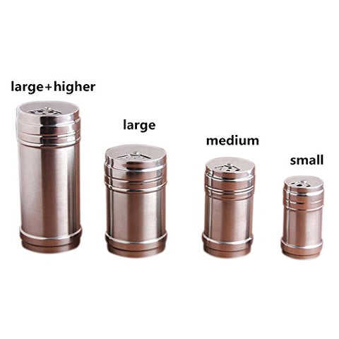 Jia Jia Trade Spice Bottle Stainless Steel Salt Sugar Pepper Shaker Shaker Seasoning Cans 4 Sizes Shaker of Spices, Herbs, Seasonings for Kitchen and Outdoor Barbecue (4 pcs of differnt sizes)