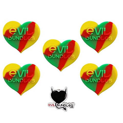 5 Evil Bundles Silicone Concentrate Wax Oil Non Stick Heart Jar Container (Rasta) FREE PIN