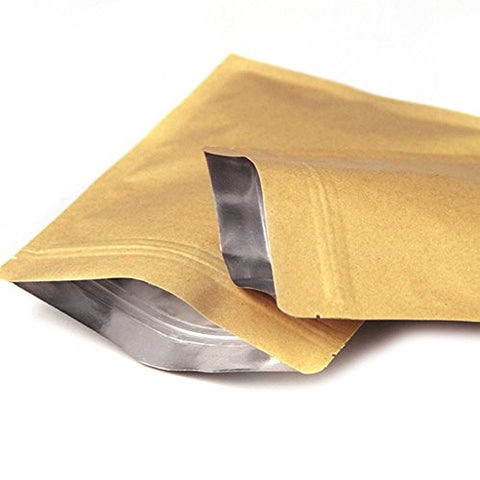 "100 Pieces 68cm (2.4""x3.1"") Self Seal Kraft Brown Paper Aluminium Foil Packaging Bag Zip Lock Food Storage Pouch Ziplock Heat Seal Bags"