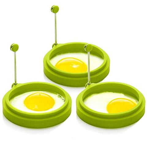 Distinct 2 PCS Silicone Egg Mold Ring Round Omelette Shaper
