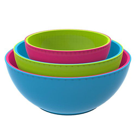 Fit & Fresh 3-Piece Chilled Freezable Serving Bowls with Lids - Multi-Colored