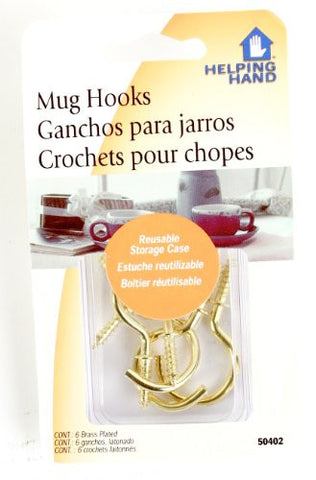 Helping Hand 50402 6 Count Brass Plated Mug Hooks