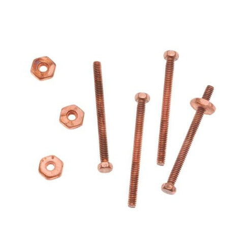 Nunn Design Antiqued Copper Plated 3/4 Inch Hex Micro Screw And Nut Set 1.5mm Wide (4)