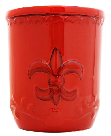 Tuscany Colorful Hand Painted Fleur De Lis **COLLECTION** By ACK (Orange Utensil Jar)