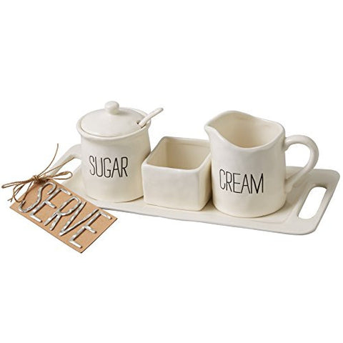 Mud Pie Bistro Cream & Sugar Set, White