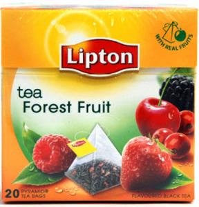 Lipton Black Tea - Forest Fruit - Premium Pyramid Tea Bags (20 Count Box) [PACK OF 3]