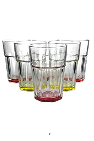 Set 6 Large Assorted Color 12oz European Glass Water/Juice Drinking Glasses