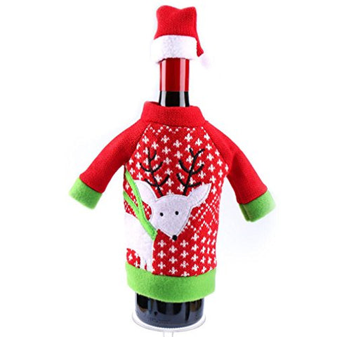 Kimanli Wine Bottle Cover Bags Decor Home Party Xmas Elk Claus Clothes Hat Christmas
