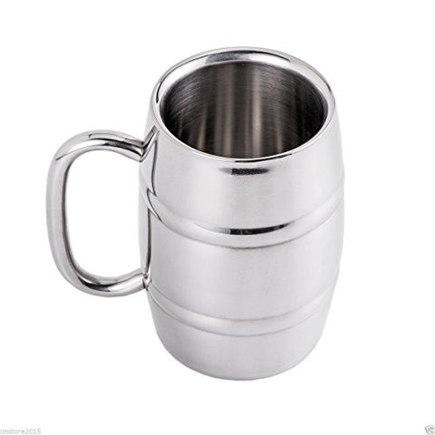 LIN Stainless Steel Beer Mug with Double Walled Insulated and Handle, 12oz
