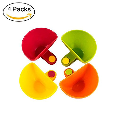 Dip Clips Colorful Plate Grab Clip-on Dip Holders Tomato Sauce Salt Vinegar Sugar Flavor Spices Bowl Container Dish -Set of 4