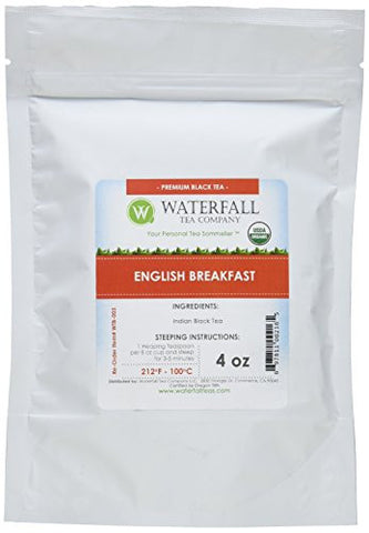 Waterfall Tea Company Organic English Breakfast Black Teas, 4 Ounce