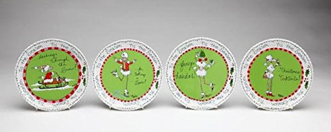 "4.5"" Christmas Holiday ""Ruby the Poodle"" Serving Plates, Set of 4"