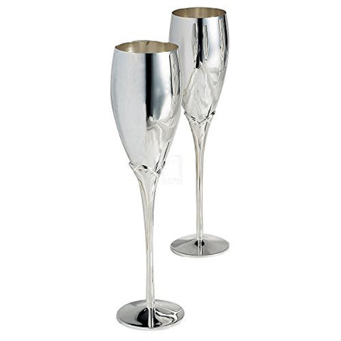 Elegance Silver Silver Plated Champagne Toasting Flutes With Crystals (set of 2)