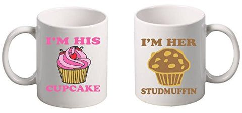 Allntrends Couple Coffee Mugs I'm His Her Cupcake Studmuffin