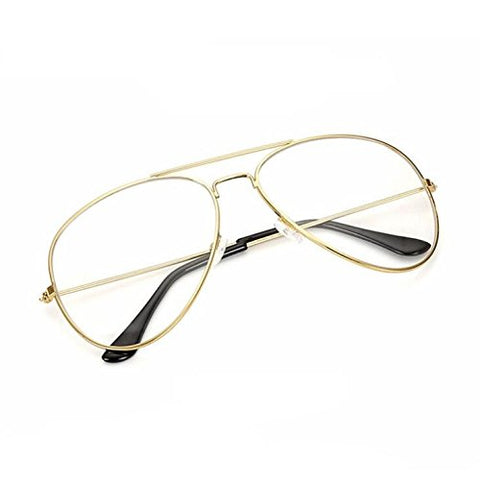 Anndeeson Retro Fashion Plain Glasses Eyeglasses Frame - Golden