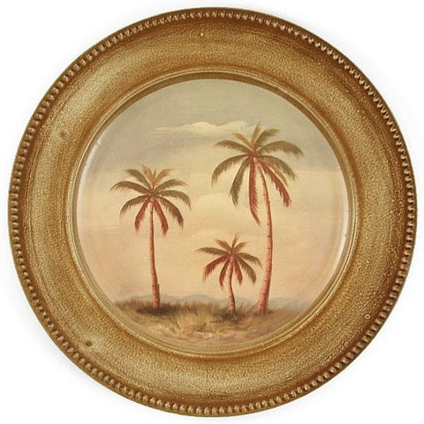 Palm Trees Tropical Oasis Large Charger Plate 4 Set