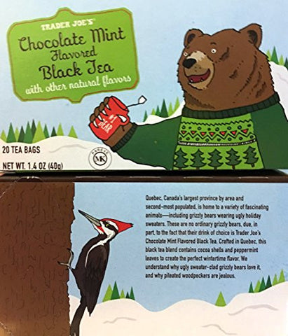 Trader Joe's Chocolate Mint Flavored Black 20 Tea Bags (Pack of 2 bxs)