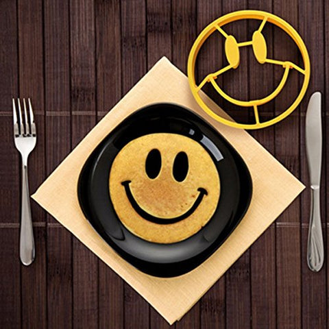 MKLOT Egg Mold Breakfast Mold Smile Shaped Pancakes Silicone Smiley Face Shape Bakeware Kitchen Cooking Tools for Kid (Smile Face)