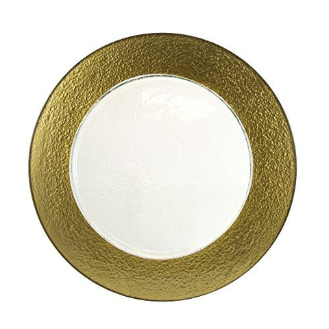 10 Strawberry Street HAL-GLD3406 Colored Rim Glass Charger Plate, Set of 6, Gold
