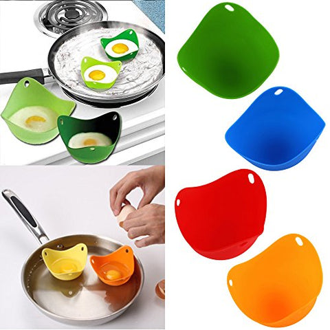 Homekiller Silicone Egg Poacher - Set of 4 Colorful Egg Cups Cookware - Microwave Egg Cooker No need for Egg Rings or Egg Boiler