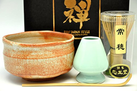 Japanese Mino Yaki ware Matcha Bowl And Tea Ceremony Set Green Tea 12.3 / 12.3 / 7.2cm (4.8 / 4.8 / 2.8inch)[7438]