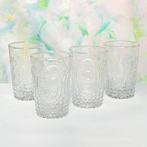 Tumbler Drinking Cups, 4.25 in tall Vintage Pressed Glass, Clear, 4 pk