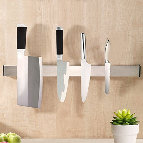KES SUS304 Stainless Steel Magnetic Knife Rack 12-Inch 3M Self Adhesive Kitchen Utensil Rail, Brushed Finish, KUR201S30-2