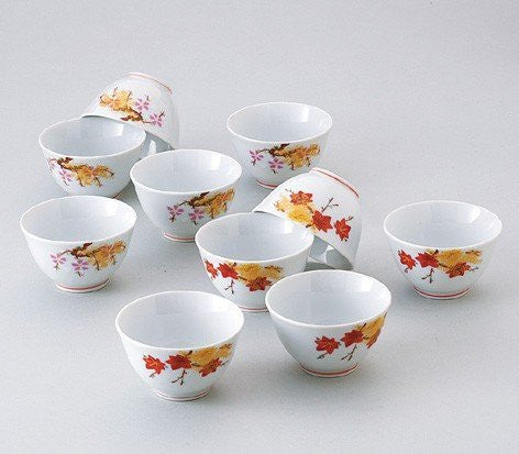 Saikai Pottery 10 sets of Small bowl autmn Leafs pattern 31731 from Japan