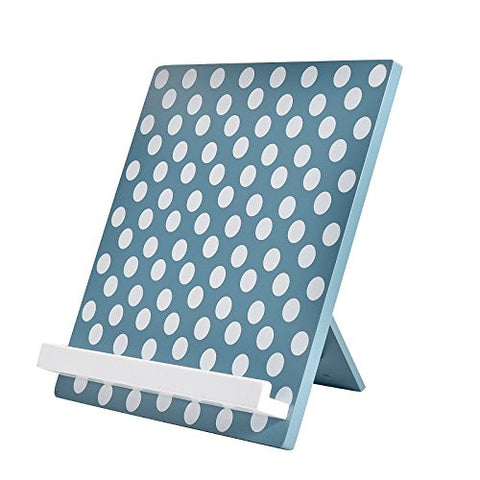 WELLAND Reading Cookbook Cook Book Stand Holder Tablet Holder Stand (Teal w/White Dots)