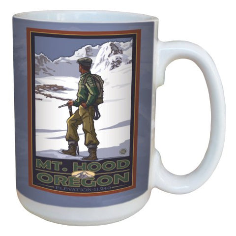 TreeFree Greetings 79399 Climbing Mount Hood by Paul A. Lanquist Ceramic Mug with Full-Sized Handle, 15-Ounce, Multicolored