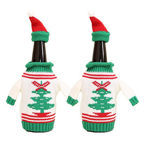 Wine Bottle Sweater Cover, Christmas Pattern Bottle Beer Knit Hat and Sweater Bottle Topper for Dinner Table Decorations Fun Party Gift Holidays Present for Wine Lovers(Christmas Tree)
