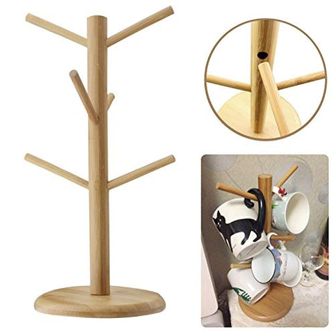 Mug Rack Tree, Mamahome Bamboo Removable Mugs Stand Storage Coffee Cup Hanger Holder with 6 Hooks for Glass Cups Bottle Mugs