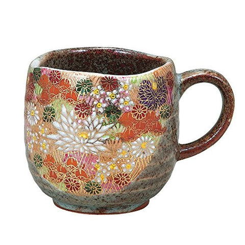 Kutani Pottery colorful flowers mug cup from Japan K4-877