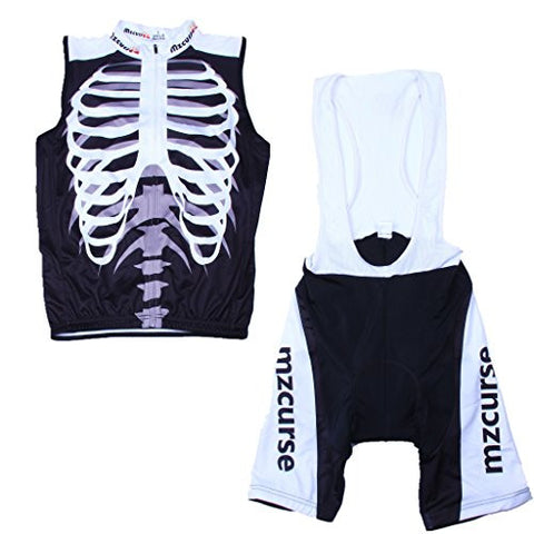 Mzcurse Men's Sleeveless Shirt Jersey+Shorts Suit Skeleton Bib Vest Size XXL