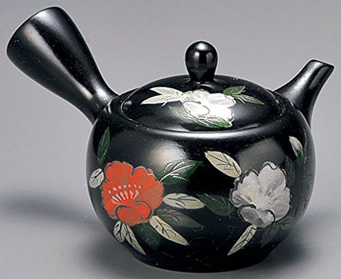 Yamakiikai Tokoname Black Kyusu(Japanese teapot) Japanese Flower & Leafs pattern with a strainer 300cc GM927 from Japan