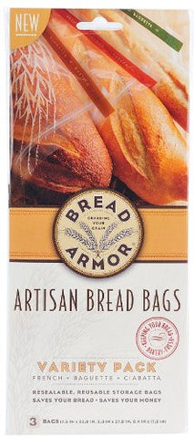 Bread Armor Bread Storage Bags, 3-Pack Variety Set