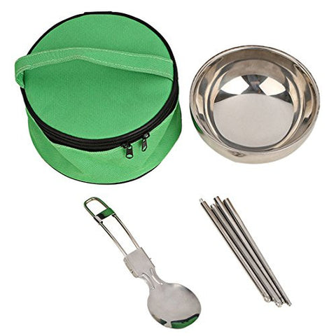 Voberry New 3 In1 Cutlery Set Stainless Steel Bowl Spoon Folding Chopsticks Travel Tableware (Green)