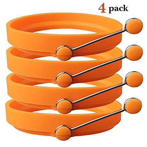 Generic Nonstick Silicone Egg Ring Pancake Mold Round Egg Rings Mold Orange 4 Pack