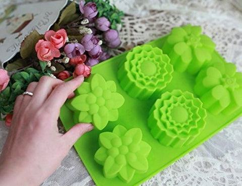Teanfa 6 Flowers Silicone Muffin Cups Handmade Soap Molds Biscuit Chocolate Ice Cake Baking Mold Cake Pan