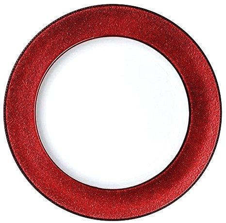Round Charger Dinner Plates, Red White 13 inch, Set of 1,2,4,6, or 12 (1)