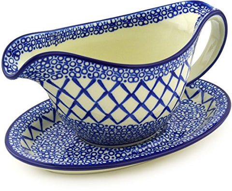 Polish Pottery Gravy Boat with Saucer 16 oz Chantilly