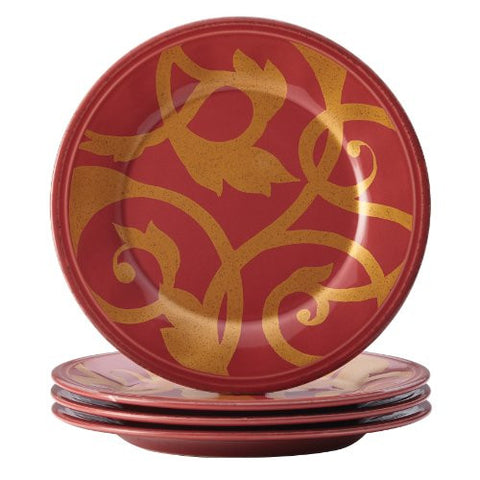 Rachael Ray Dinnerware Gold Scroll 4-Piece Round Appetizer Plate Set, Cranberry Red
