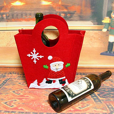 Christmas Wine Bottle Cover, Rosa Schleife Christmas Embroidered Wine Bottle Bag Decorated with Santa Claus Pattern for Home Kitchen Christmas Holiday Party Decorations New Years Festival Celebrating