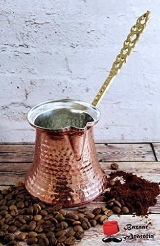 Handmade Turkish Coffee Pot, %100 Solid Copper and Brass Handle Turkish Copper Pot (Xs 1 Cup (115ml / 3.9oz))