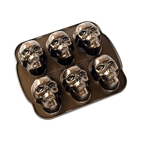 Nordic Ware Haunted Skull Cakelet Pan, Bronze