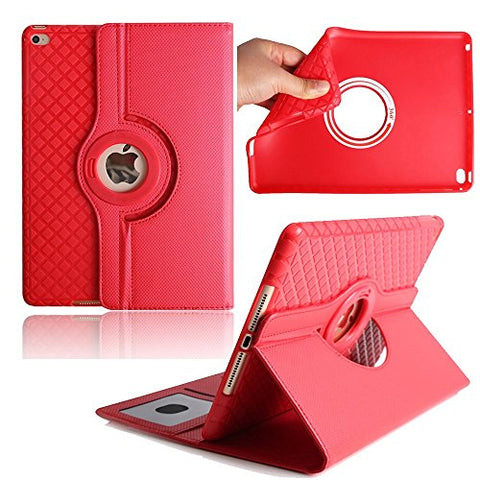 iPad Air 2 Case,Dream Wings 360 Degrees Rotating Slim Stand with Card Slots Smart Screen Protective Detachable Case Cover for Apple iPad Air 2 9.7 inch Tablet(iPad Air 2, Red)
