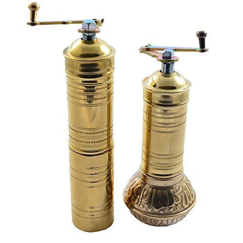 Manual Hand Grinder Mill SET for Turkish Greek Arabic Coffee Beans & Spice Pepper Salt , Brass (Daddy & Mommy)