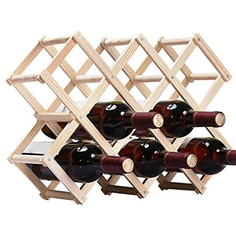 Qianle Wine Wood Rack Bottle Holder Free Standing Storage Display Burlywood 10 Bottles