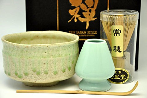 Japanese Mino Yaki ware Matcha Bowl And Tea Ceremony Set Green Tea 12.3 / 12.3 / 7.2cm (4.8 / 4.8 / 2.8inch)[7437]