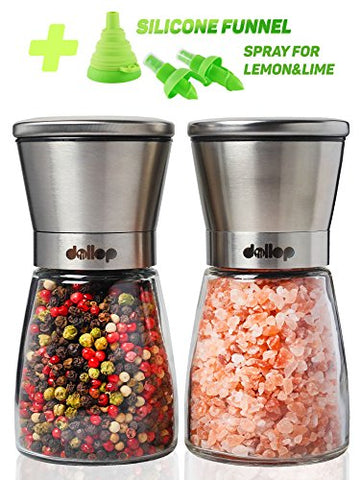 Dollop Salt and Pepper Grinder Set - 2Mills for Salt&Pepper + Silicone Funnel for Filling Mill with Spices + Spray for Lemon - Glass Body&Adjustable Ceramic Rotor - Best for Tasty and Healthy Food